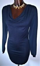 Orsay Navy blue soft knit jumper dress with silky sleeves size M 10