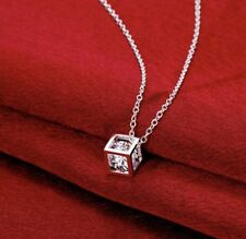 Women's Fashion Jewelry 925 Silver Plated Crystal Box Pendant Necklace Mom 45-2