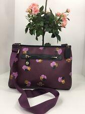 Coach Taylor Crossbody Bag 37586 Plum Field Floral Print Messenger B2T