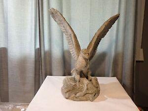 """Vintage Concrete Cement Eagle Statue 19""""t x 16""""w x 12"""""""