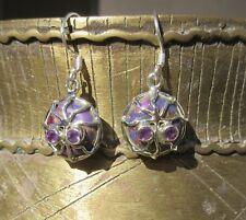 Ohrring Spinne Kupfertürkis Türkis lila Augen aus Amethyst Sterling Silber 925