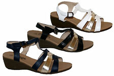 LADIES WEDGE HEEL STRAPPY SANDAL IN 3 COLOURS WITH BUCKLE ANKLE STRAP SIZES 3-8