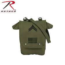 Rothco 8796 Canvas Map Case Shoulder Bag w/ Military Patches - Olive Drab