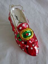 "High Heel SHOE ORNAMENT Blown Glass 5.5"" Red with White Glitter Dots Christmas"