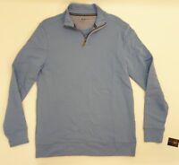 Club Room Mens Shirt Long Sleeve Mock Neck 1/2 Zip Pullover Sweat Shirt Blue S