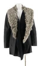 Dennis Basso Faux Leather Jacket Removable Faux Fur Collar Black L NEW A284847
