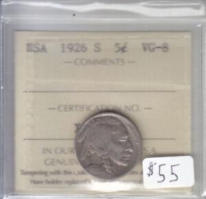 1926 S US BUFFALO 5 CENT COIN ICCS VG-8
