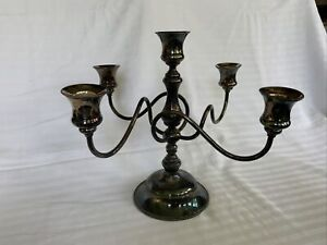 """Vintage Quadruple Silver Plate 5 Point Candle Holder Candelabra, 11"""" X 11"""""""