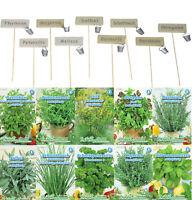 9er Set Kräuterschilder Holz Eimer + 10er Set Kräuter Saatgut Samen