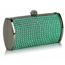 CLUTCH hand BAG WEDDING evening green diamante 081 shoulder chain hard case