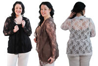 Womens Ladies Plus Size Floral Lace Long Sleeve Waterfall Cardigan Cover Up Top