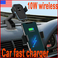 Qi Wireless Fast Charging Car Charger Mount Holder 2 in1 For CellPhone Universal