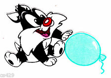 "3.5"" BABY LOONEY TUNES SYLVESTER  BALLOON CHARACTER FABRIC APPLIQUE IRON ON"