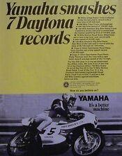 Yamaha Smashes 7 Daytona Records - Fred Deeley 1969 Motorcycle Racing Ad