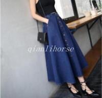 Vintage Women Fashion A-line High Waist Long Midi Denim Flare Party Skater Skirt