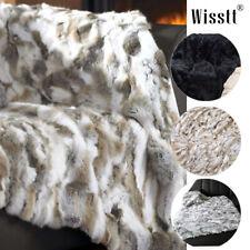 Natural Luxury 100% Real Rabbit Fur Throw Bedspread Blanket Carpet King Queen US