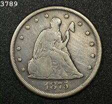 "1875-CC Liberty Seated Twenty Cent Piece ""Fine"" *Free S/H After 1st Item*"