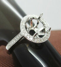 Natural Diamond Wedding Semi Mount Ring 8.0mm Round Cut Solid 14k White Gold
