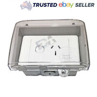 Single Power Point Outlet GPO w/ Weatherproof Waterproof Clear Enclosure Lid Box