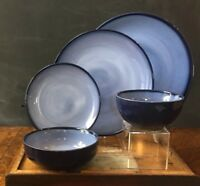 Sango Nova Blue Stoneware 4934 Chop, Dinner or Salad Plate, Ice Cream Dish, Bowl