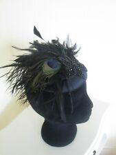 Black peacock and diamonte pill box fascinator, on trend for weddings races