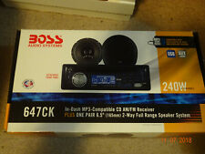 "Boss 647CK CD Player In Dash Receiver plus One Pair 6.5"" 2-way speakers MP-3"