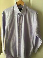 David Donahue Mens Purple Windowpane Check L/S Dress Button Shirt Sz 16 34/35