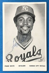 Frank White Autographed Signed 5x3 1/4 Kansas City Royal Team Issued Photo