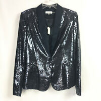 Calvin Klein Womens Medium Jacket Sequin Blazer Deep Sea Blue Party Cocktail NWT