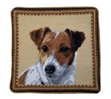 "Jack Russell Dog Needlepoint Pillow 10""x10"" NWT"