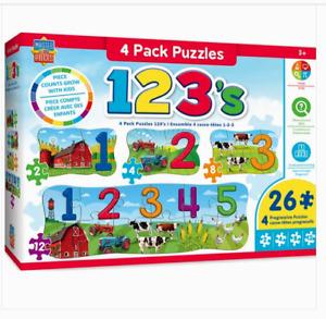 Master Kids Pieces 4Pk. Puzzles 123's 26 Pieces