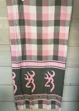 Browning Buckmark Plaid Pink Curtains Drapes 2 Panels Deer Logo Girls Cottage