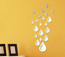 DIY Drops Water Acrylic Art Mirror Wall Stickers Removable Decal Home Decoration