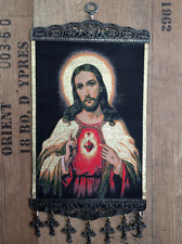SACRED HEART of JESUS w CROSSES WOVEN TAPESTRY BIG WALL HANGING 20x32 cm