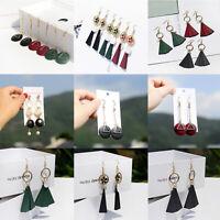 Fashion Boho Wood Flower Shell Earrings Triangle Dangle Drop Hook Women Earrings