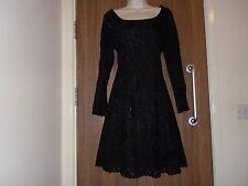 NEXT Long Sleeves Lace Dress - Black - UK 10