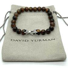 "David Yurman 925 Sterling Silver Red Tiger Eye Spiritual Bead Bracelet 8mm 8.5"""