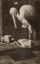 Birth - Sotrk Weighing Baby on Set of Scales c1910 Postcard