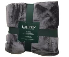Ralph Lauren Clic King Micromink Blanket Solid Gray 108 X 90 Rll Logo