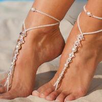 Pearl Barefoot Sandal Anklet Foot Chain Toe Ring Beach Ankle Bracelet for WomLDU
