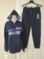 Hugo Boss Mens 2 Pc Tracksuit Pants & Zip Hoodie Jacket Dark Blue Logo Sz.L $208