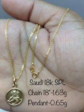 GoldNMore: 18K Gold Necklace And Pendant 18 Inches Chain TPNG