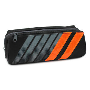 Large Sporty Black Pencil Case Pouch with Reflective Strips for Boys Teenagers
