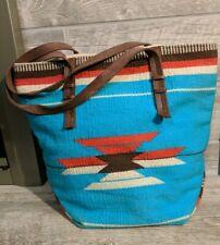 Forever21 Hobo Aztec Indian Yarn Canvas Crochet Handbag Tote Bag Leather Straps