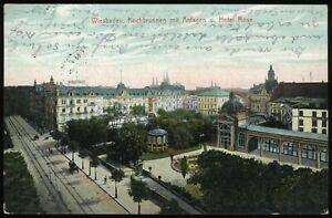 (A9304) AK Wiesbaden, Kochbrunnen und Hotel Rose 1912