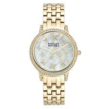 Badgley Mischka Swarovski Crystal 36mm Gold Tone Women's Bracelet Watch -