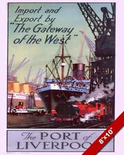 VINTAGE 1950'S PORT OF LIVERPOOL ENGLAND POSTER PAINTING ART REAL CANVAS PRINT