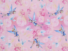 FAT QUARTER  DISNEY FABRIC TINKERBELL TINK WITH ROSES 100% COTTON PIXIE FAIRY FQ