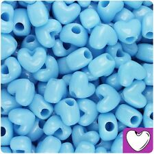 50 Baby Blue Opaque Heart Shape 12mm Pony Beads Top Quality Pony Beads