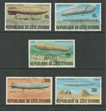 IVORY COAST # 440-444 Used HISTORY OF THE ZEPPELIN